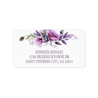 Étiquette Adresse pourpre violette | de fleurs sauvages de