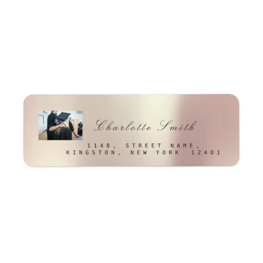 Étiquette Adresse rose VIP métallique de l'or RSVP de