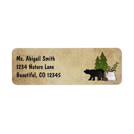 Étiquette Adresse rustique d'ours de silhouette de pays de