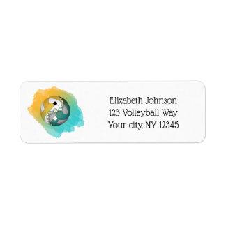 Étiquette adresse turquoise de volleyball de yang de yin