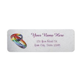 Étiquette Anneaux de mariage d'arc-en-ciel pour l'égalité de