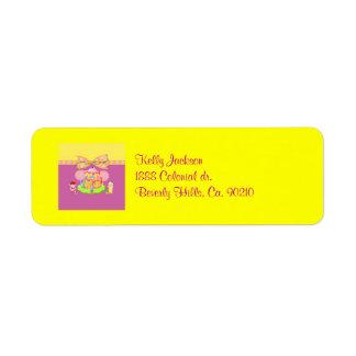 Étiquette Anniversaire Girly de bébés et de sucreries de
