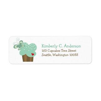 Étiquette Anniversaire vert lunatique de fille de papillon