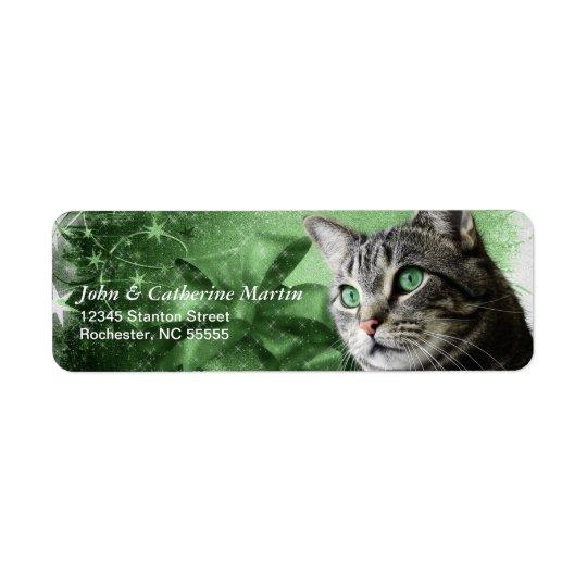 Étiquette APAL - Chat tigré argenté de Noël