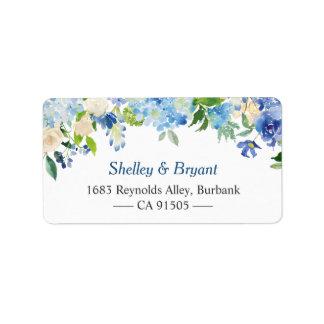 Étiquette Aquarelle bleu-clair d'hortensia florale