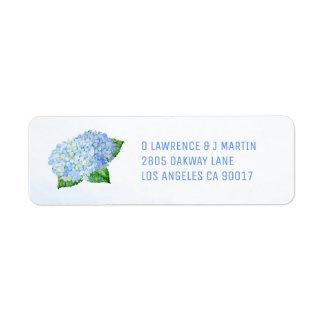 Étiquette Aquarelle bleue d'hortensia