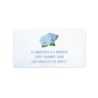 Étiquette Aquarelle bleue d'hortensias