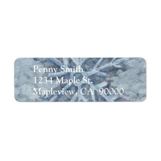 Étiquette Aquarelle de flocon de neige d'hiver
