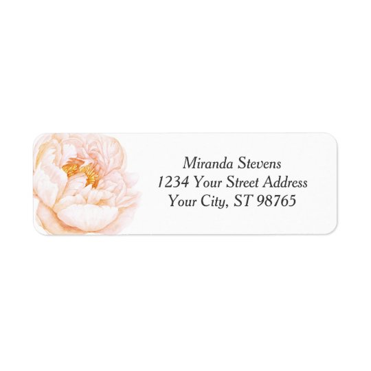 Étiquette Aquarelle rose de pivoine florale