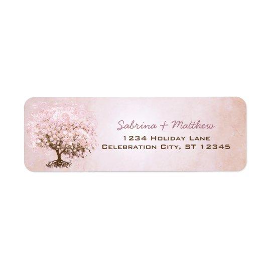 Étiquette Arbre pâle simplement rose de feuille de coeur de