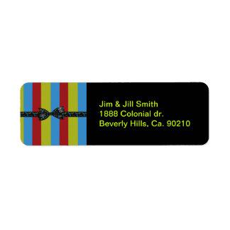 Étiquette Arc de notes de musique et rayures colorées de