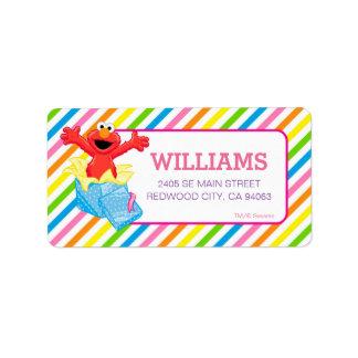 Étiquette Arc-en-ciel de filles du Sesame Street   Elmo