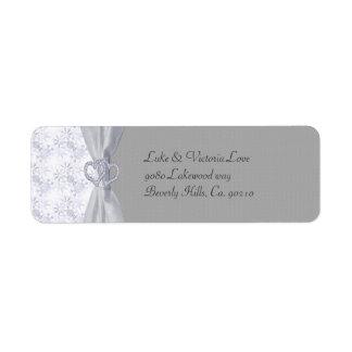 Étiquette Argent, étoiles de blanc et épouser de flocons de