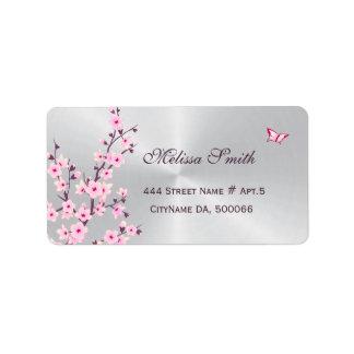 Étiquette Argent rose de fleurs de cerisier florales