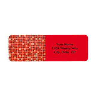 Étiquette Arrière - plan rouge de tuile de mosaïque