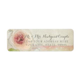 Étiquette Art élégant floral de pivoine vintage d'adresse de