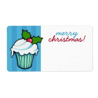 Étiquette Autocollant bleu de Noël de petit gâteau de houx