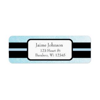 Étiquette Autocollant chic bleu et noir d'adresse de retour