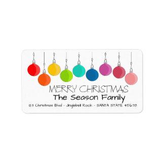 Étiquette Babioles de Noël d'arc-en-ciel de Joyeux Noël