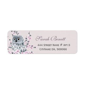 Étiquette Baby shower de fleurs de cerisier de hibou