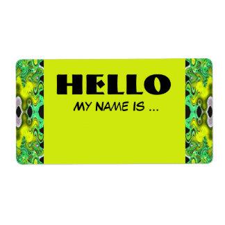 Étiquette badge nominatif de vert jaune