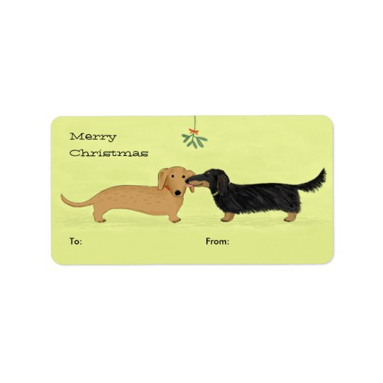 Étiquette Baiser de gui de teckel - Noël de chien de