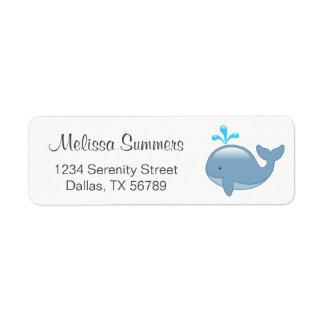 Étiquette Baleine potelée mignonne de bande dessinée
