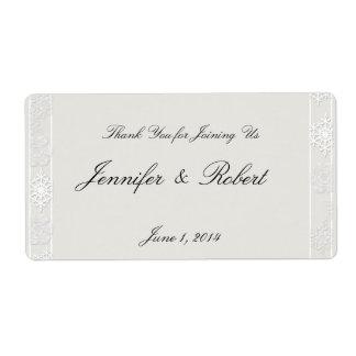 Étiquette blanc argenté de l'eau de mariage