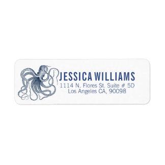 Étiquette Blanc avec le poulpe de cru de bleu marine