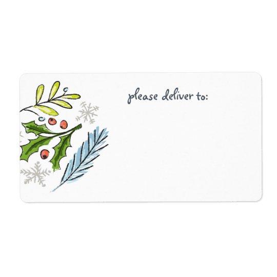 Étiquette Blanc de branches de sapin de Joyeux Noël