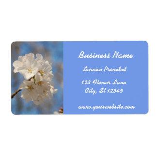 Étiquette blanc de fleurs de cerisier