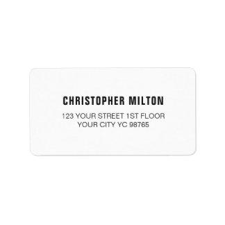Étiquette blanc élégant classique minimaliste