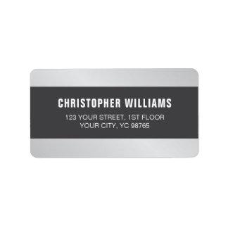 Étiquette Blanc gris argenté de Faux élégant moderne