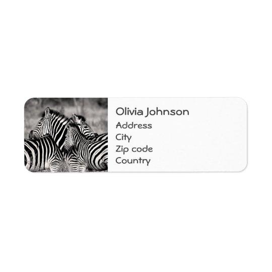 Étiquette Blanc mignon de noir de safari de nature de