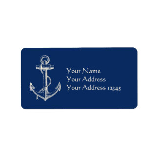 Étiquette Blanc nautique de bleu marine de cadeau