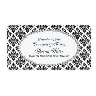 Étiquette blanc noir vintage de l'eau de la perle