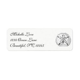Étiquette Blanc vintage de noir de plage de coquillage du