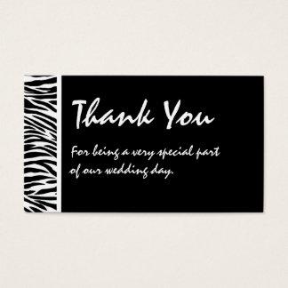 Étiquette blanche noire de faveur de mariage de cartes de visite