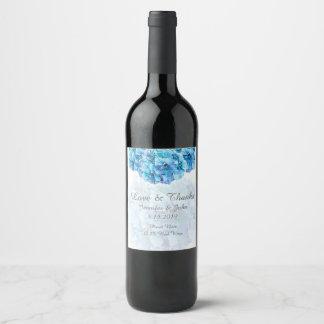Étiquette bleu de vin de collection de mariage