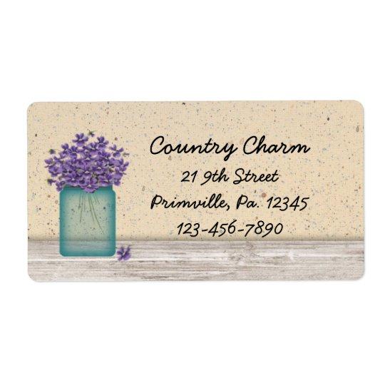 Étiquette bleu de violettes de pot de maçon