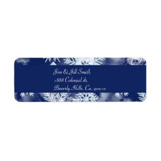 Étiquette Bleu glacial de flocons de neige d'hiver