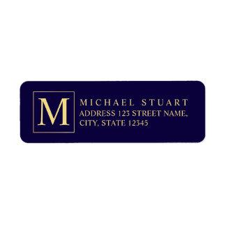 Étiquette Bleu marine et monogramme élégant d'or