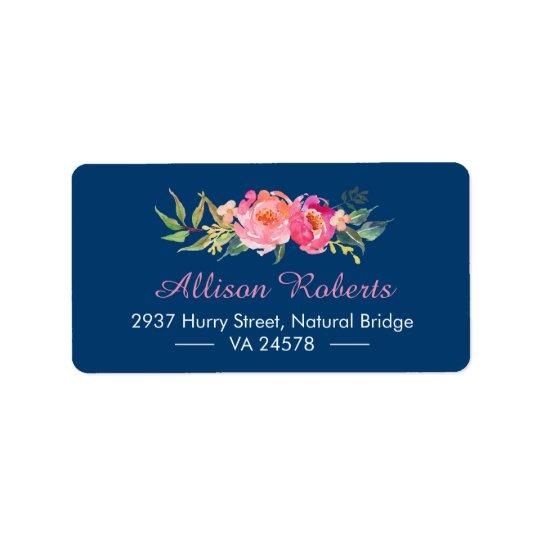 Étiquette Bleu marine floral botanique rose rouge pourpre