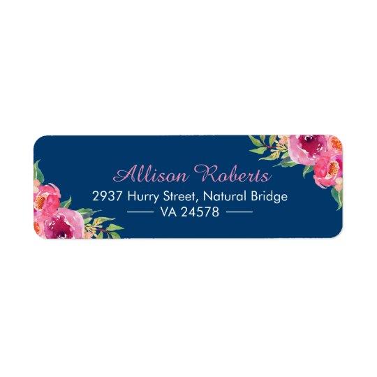 Étiquette Bleu marine floral rose rouge pourpre d'aquarelle