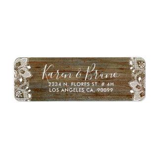 Étiquette Bois rustique de Faux et dentelle florale blanche