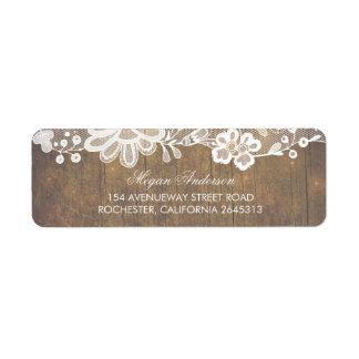 Étiquette Bois rustique de grange et mariage de dentelle