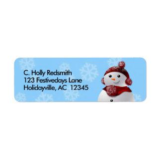 Étiquette Bonhomme de neige avec des flocons de neige dans