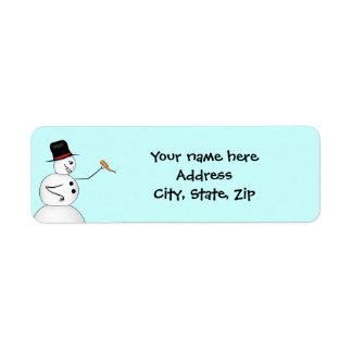 Étiquette Bonhomme de neige drôle de Noël