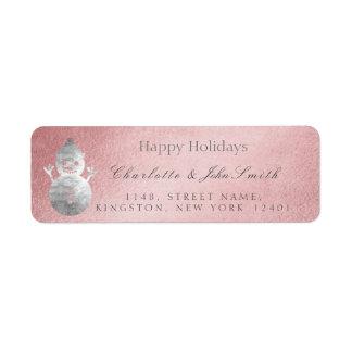 Étiquette Bonnes fêtes bonhomme de neige rose de gris d'or