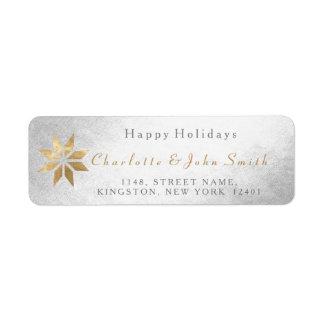 Étiquette Bonnes fêtes étoile d'or argentée de neige de joie